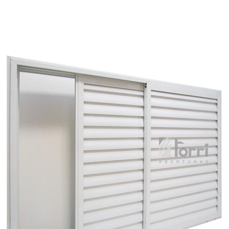 Ventana aluminio blanco con celosia corrediza 120 110 - Celosias para ventanas ...
