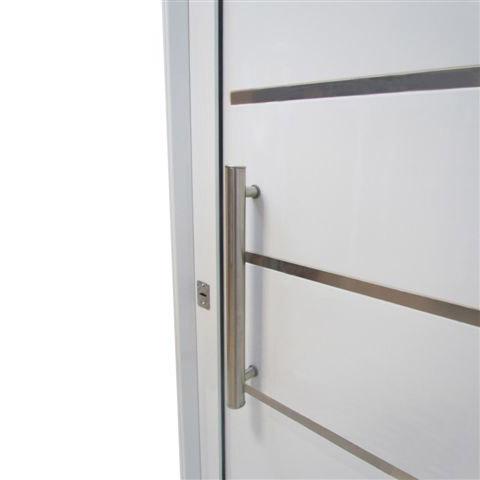 Puerta aluminio blanco modelo 5 rayas con apliques 085 205 - Puertas blancas con rayas ...