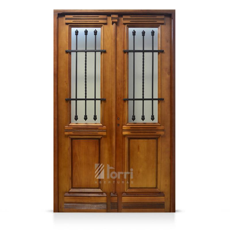 Puerta doble de madera modelo buenos aires 130 220 for Puertas dobles de madera