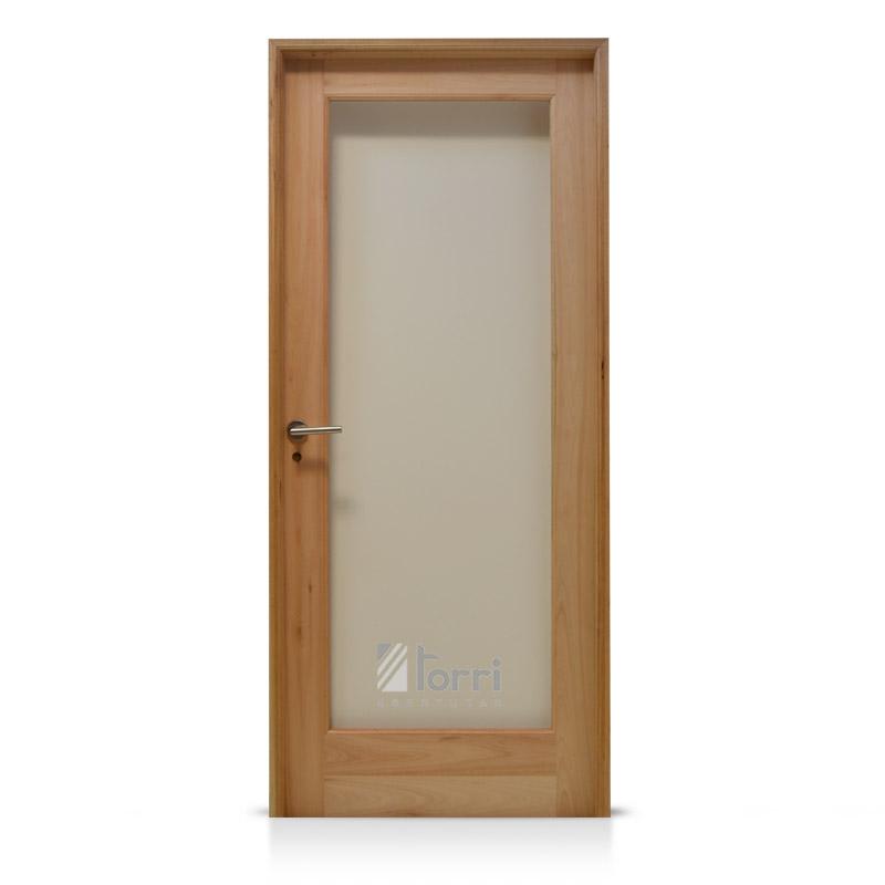 Puerta madera grandis vidrio entero de 080 x 200 for Puertas madera y cristal interior