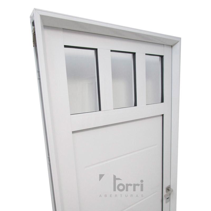 Puerta aluminio blanco modelo 1200 de 085 205 aberturas for Fabrica de aberturas de madera en rosario