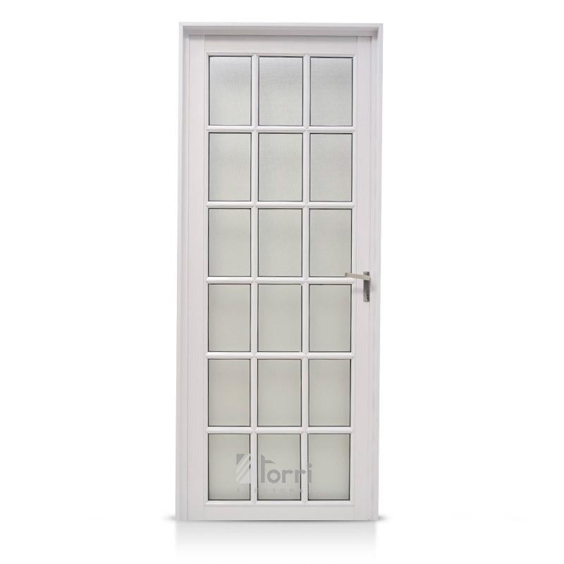 Puerta aluminio blanco modelo 040 de 080 200 aberturas torri for Puertas de aluminio