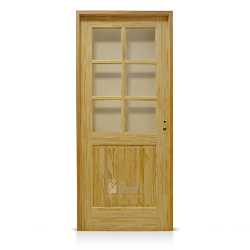 Puerta pino macizo 1 2 vidrio repartido medidas 0 70 y 0 for Disenos de puertas en madera y vidrio