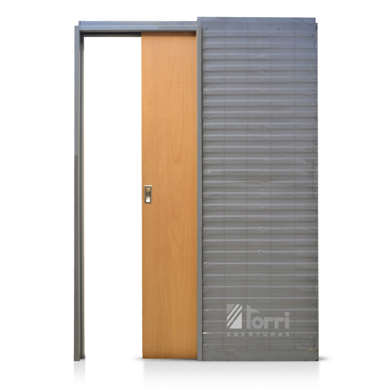 puerta de embutir oblak cedro marco chapa 080 muro 15
