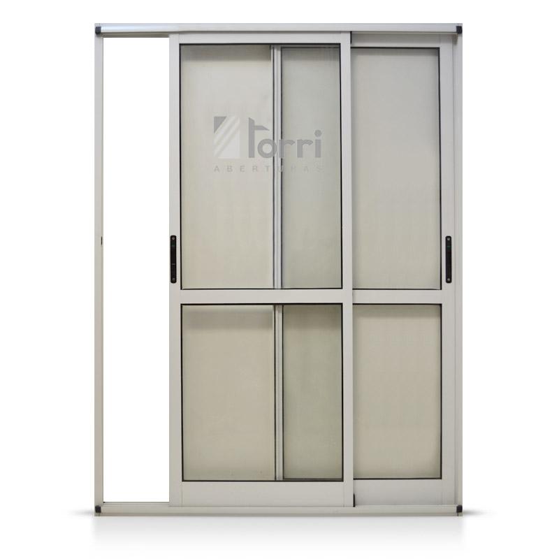 Ventana balcon aluminio blanco modena con mosquitero 150 for Mosquiteros de aluminio