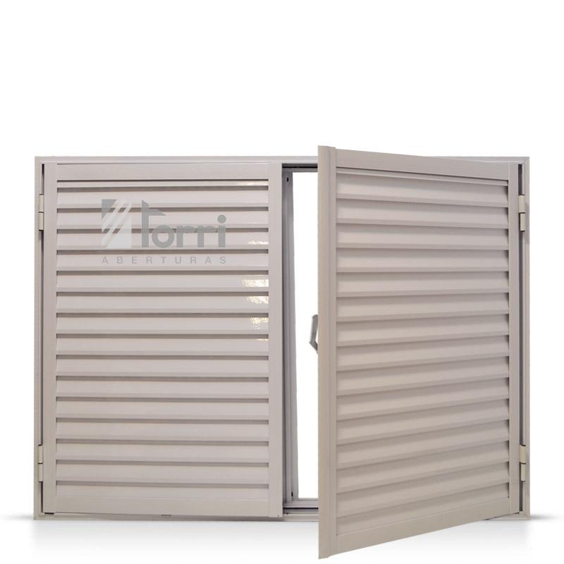Ventana aluminio blanco con celosia de abrir 120 110 - Celosias para ventanas ...