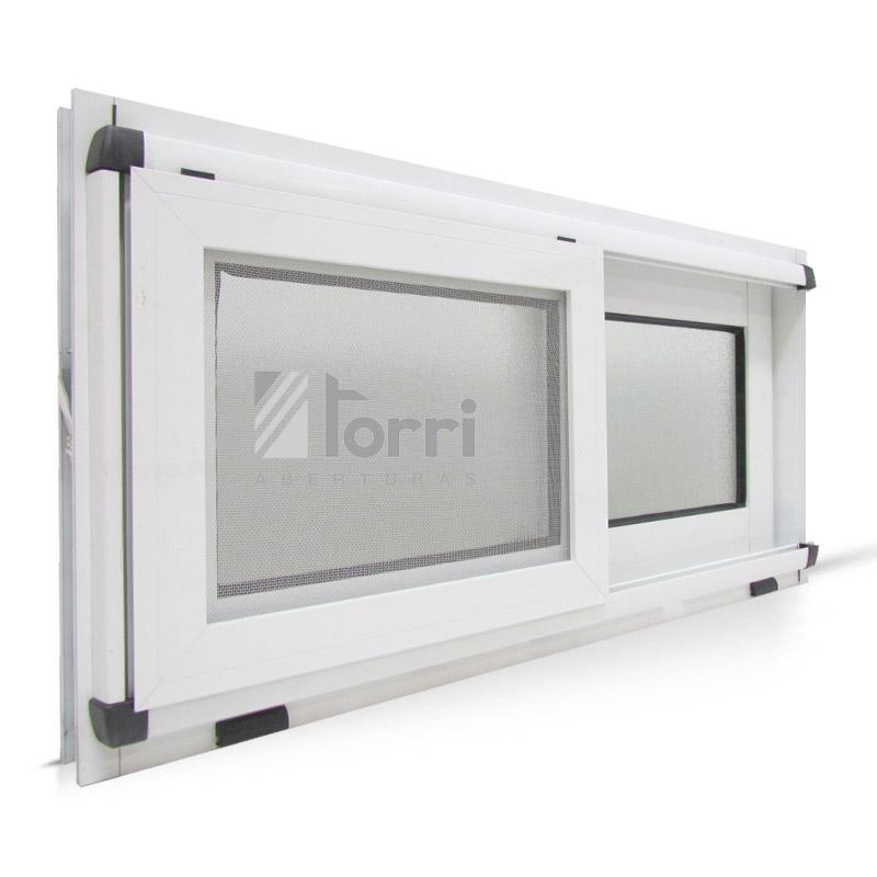Ventana aluminio blanco modena con mosquitero 080 040 for Mosquiteros de aluminio