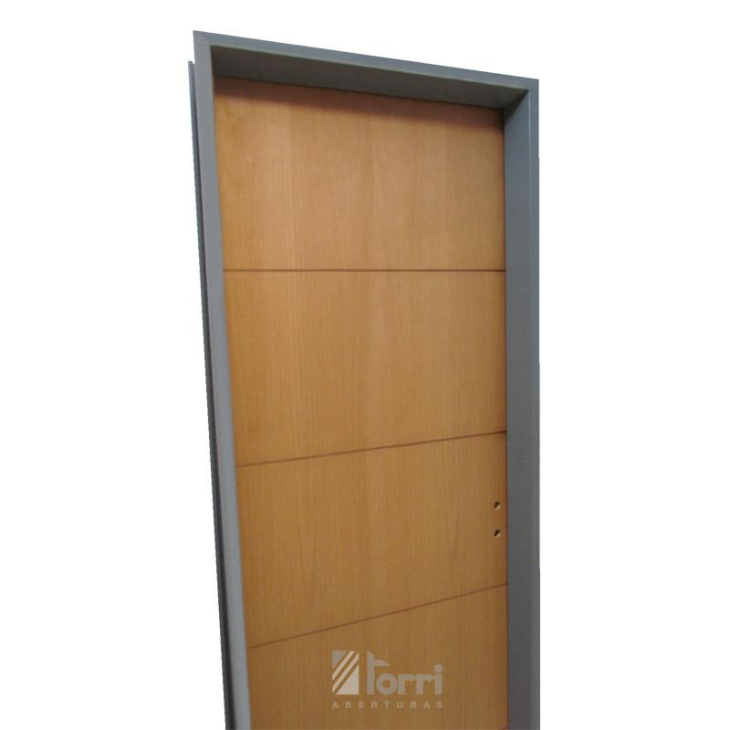 Puerta placa cedrillo marco chapa 18 con Rayas Caoba de 080 muro 10 ...