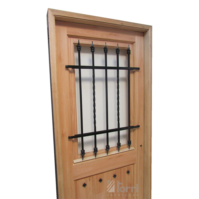 Puerta madera gradis modelo normanda 1 2 vidrio de 0 80 2 for Modelos de puertas de madera con vidrio
