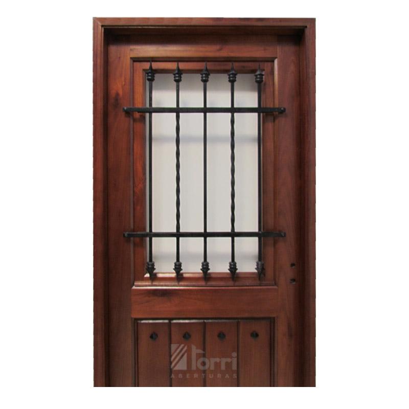 Puerta madera gradis modelo normanda 1 2 vidrio de 0 80 2 for Puertas interiores de madera con vidrio