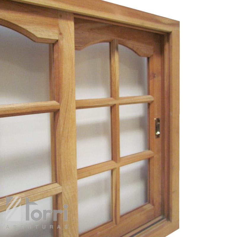Ventana corrediza de cedro de 120 x 110 aberturas torri for Ventanas de madera precios en rosario