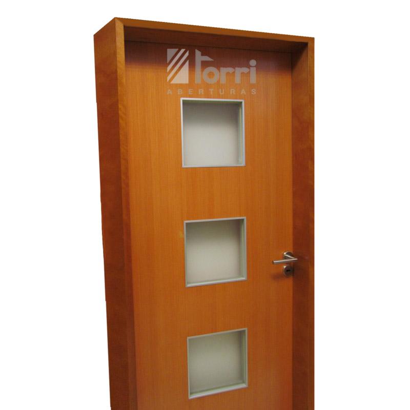 Puerta placa Oblak modelo Quadra de 080 marco madera – Aberturas Torri