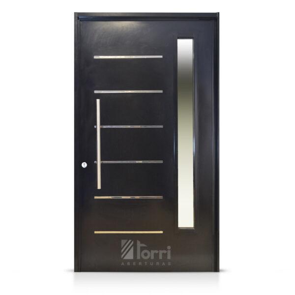 Puerta chapa pivotante de 125 227 con vidrio lateral for Puertas de chapa galvanizada